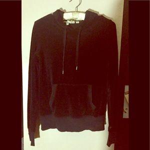 H&M Black velour hood L/S XS